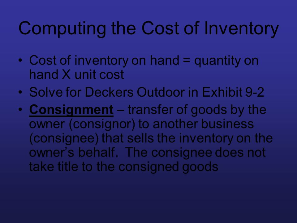 Computing the Cost of Inventory