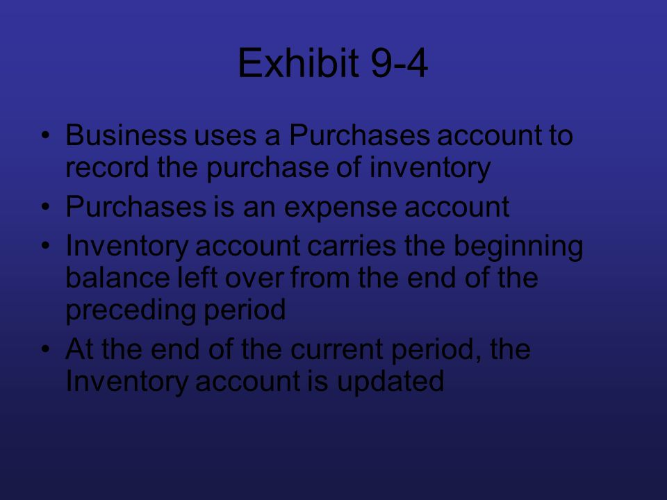 Exhibit 9-4 Business uses a Purchases account to record the purchase of inventory. Purchases is an expense account.