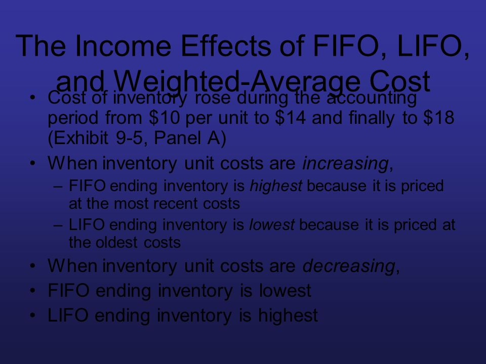 The Income Effects of FIFO, LIFO, and Weighted-Average Cost
