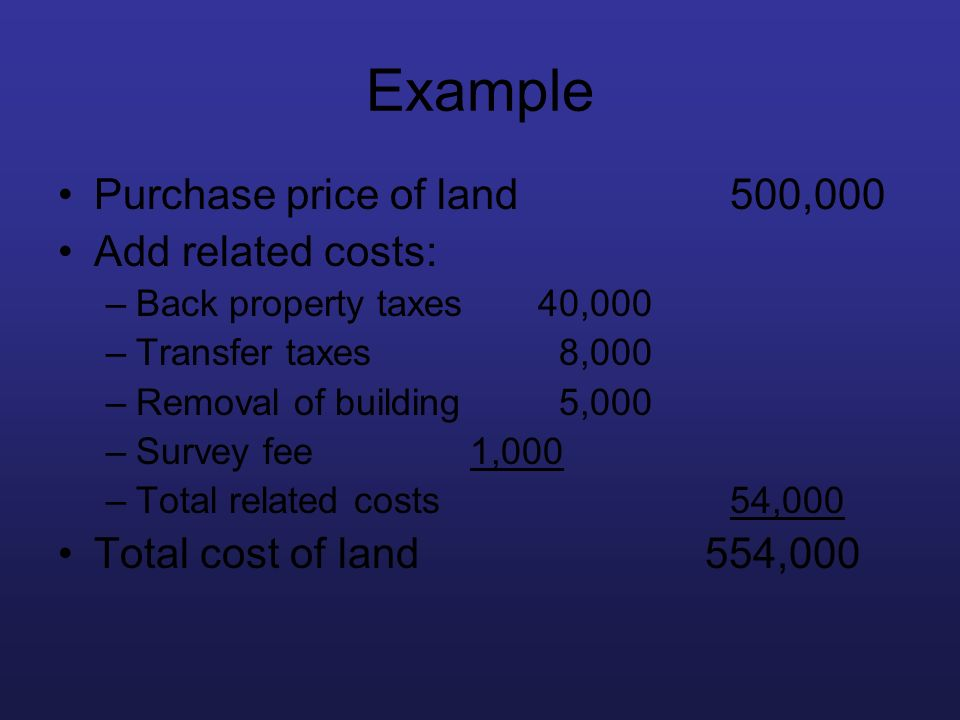Example Purchase price of land 500,000 Add related costs:
