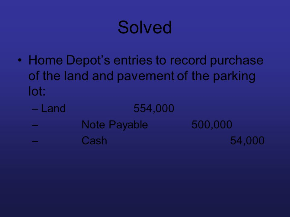 Solved Home Depot's entries to record purchase of the land and pavement of the parking lot: Land 554,000.