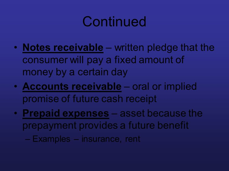 Continued Notes receivable – written pledge that the consumer will pay a fixed amount of money by a certain day.