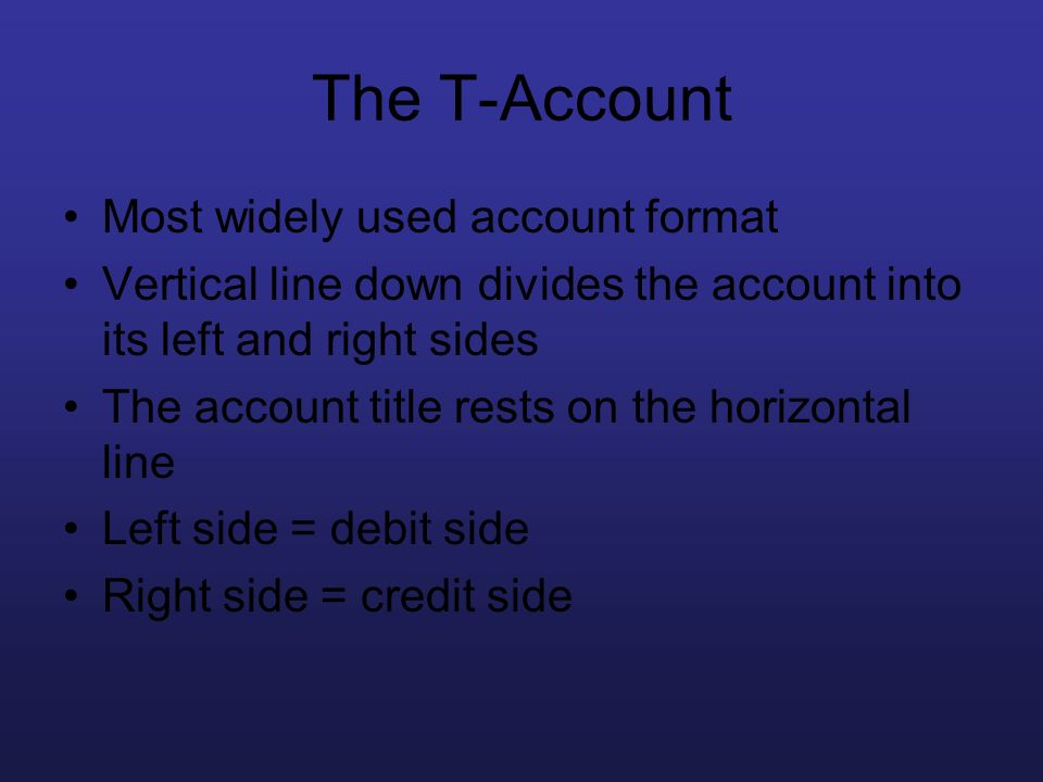 The T-Account Most widely used account format