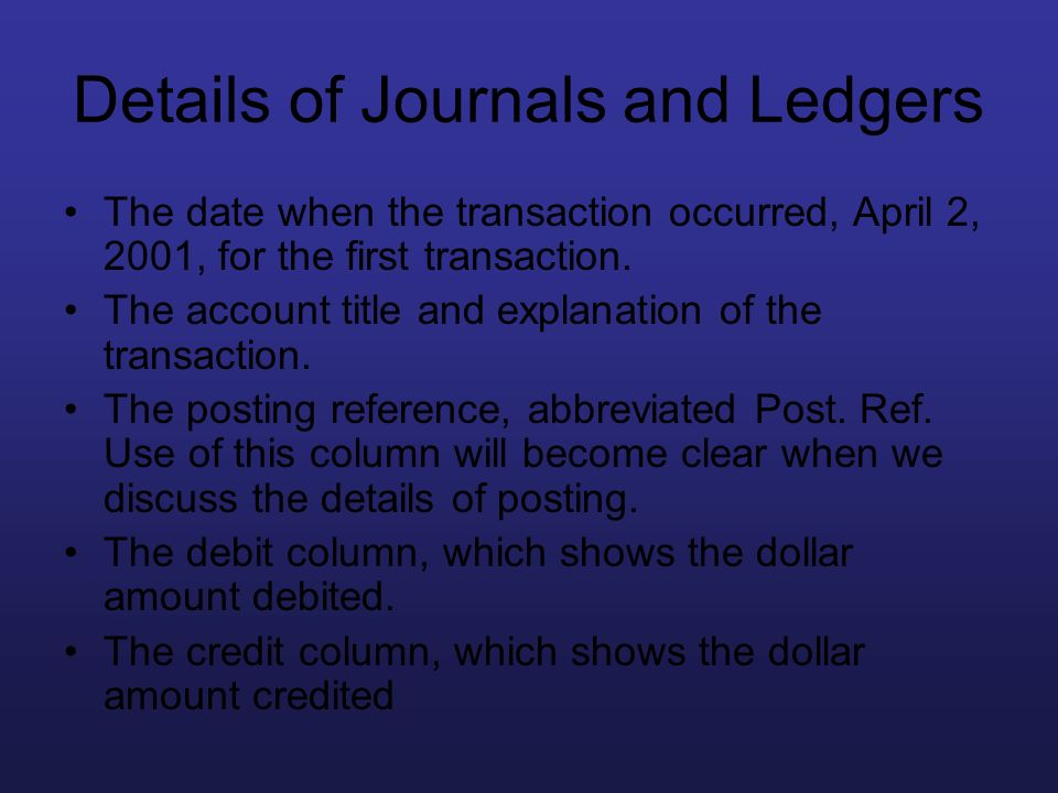 Details of Journals and Ledgers