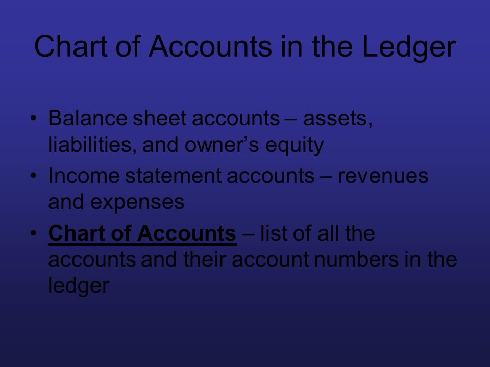 Chart of Accounts in the Ledger