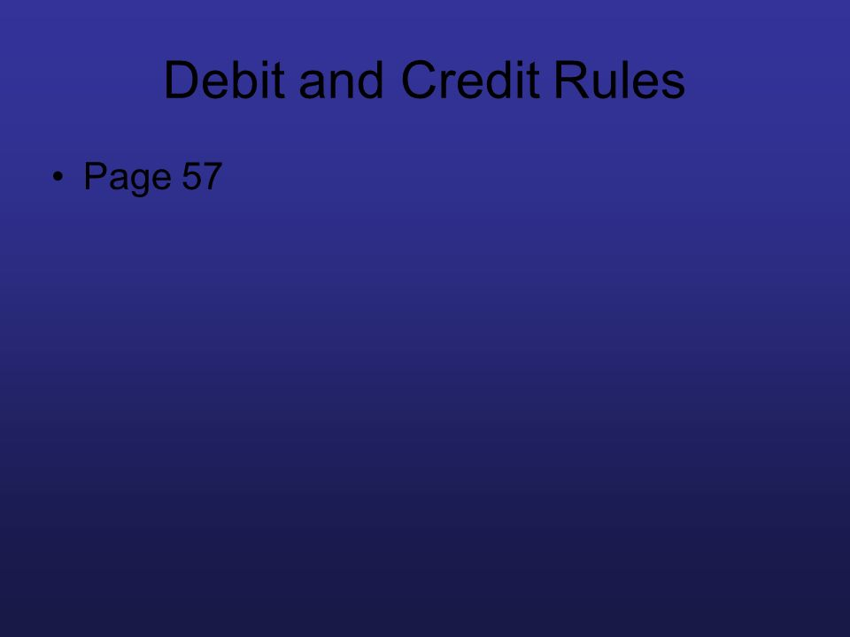 Debit and Credit Rules Page 57 Work it out – indep practice