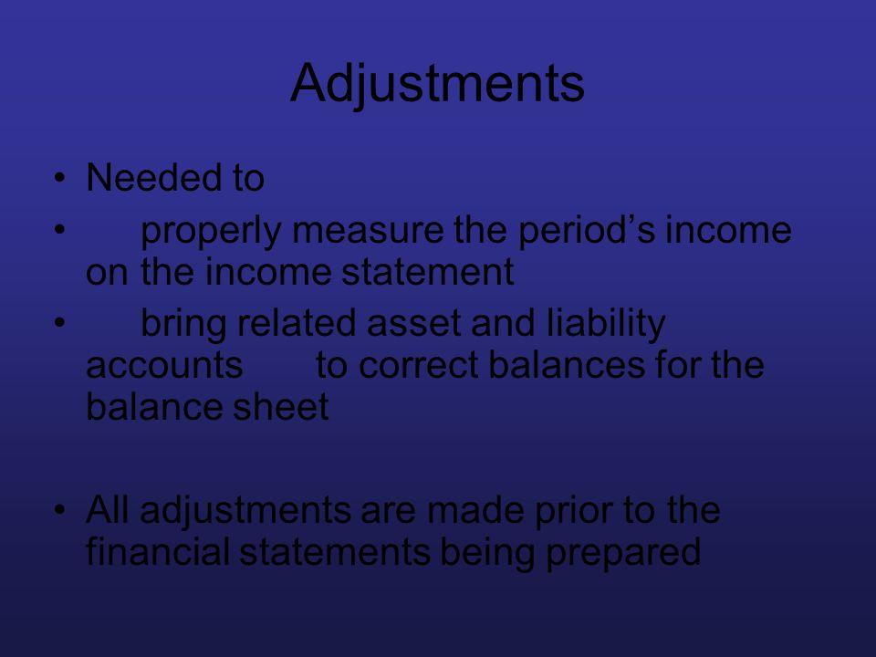 Adjustments Needed to. properly measure the period's income on the income statement.