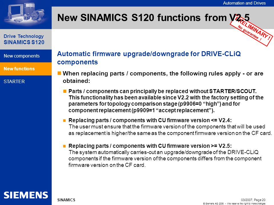New SINAMICS S120 functions from V2.5