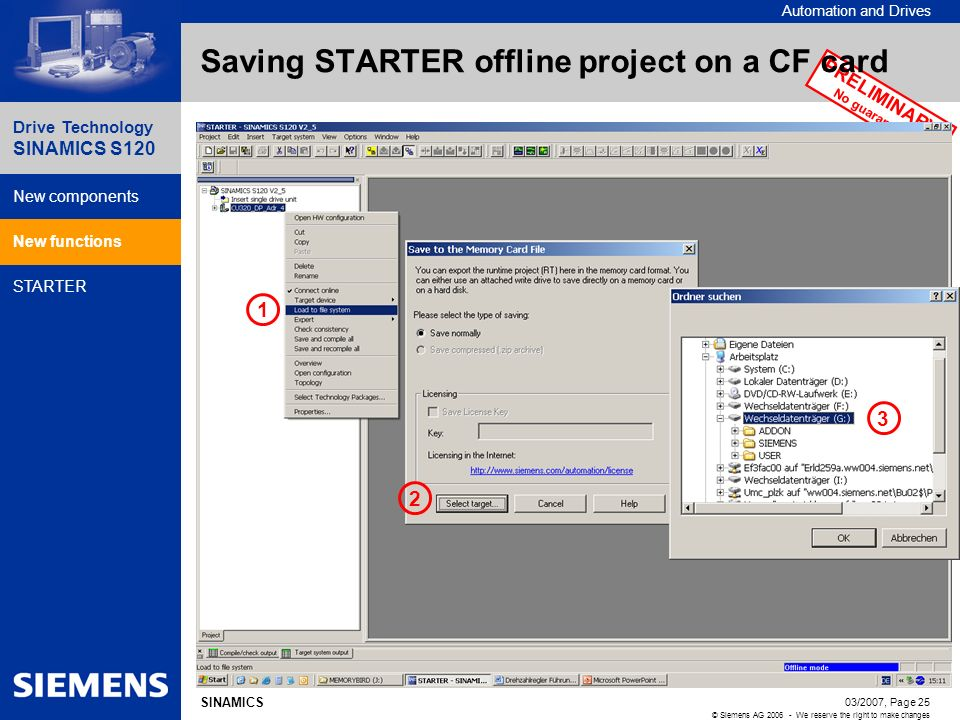 Saving STARTER offline project on a CF card