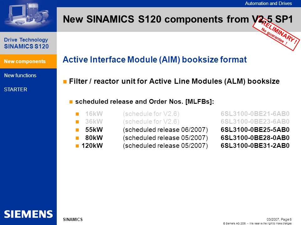 New SINAMICS S120 components from V2.5 SP1
