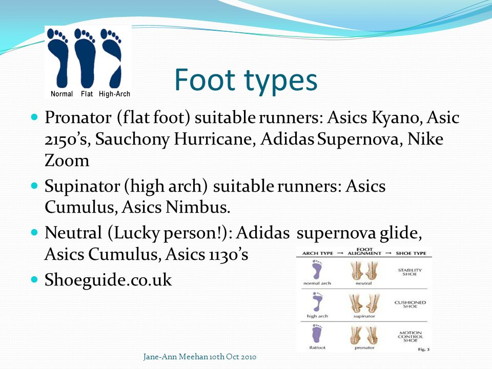 Foot types Pronator (flat foot) suitable runners: Asics Kyano, Asic 2150's, Sauchony Hurricane, Adidas Supernova, Nike Zoom.