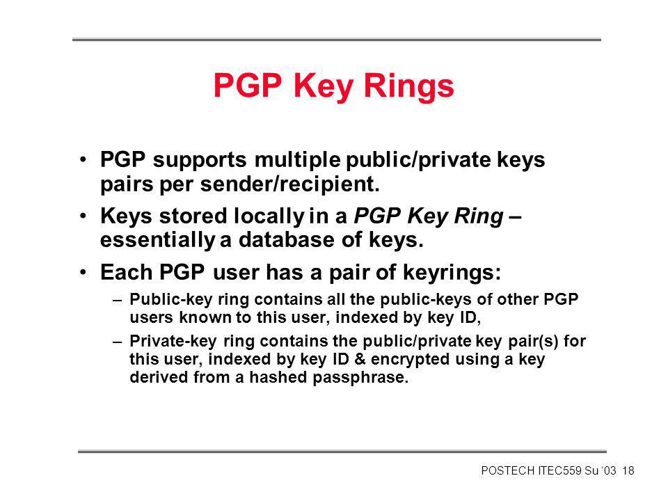 PGP Key Rings PGP supports multiple public/private keys pairs per sender/recipient.