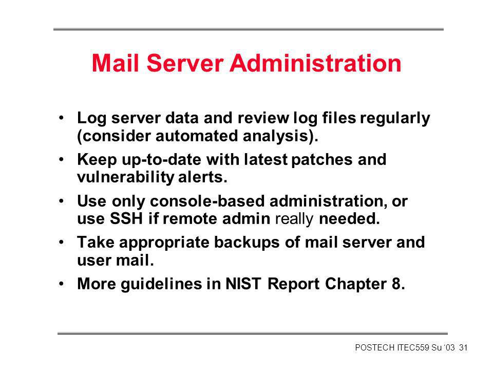 Mail Server Administration
