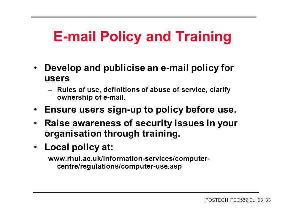 E-mail Policy and Training