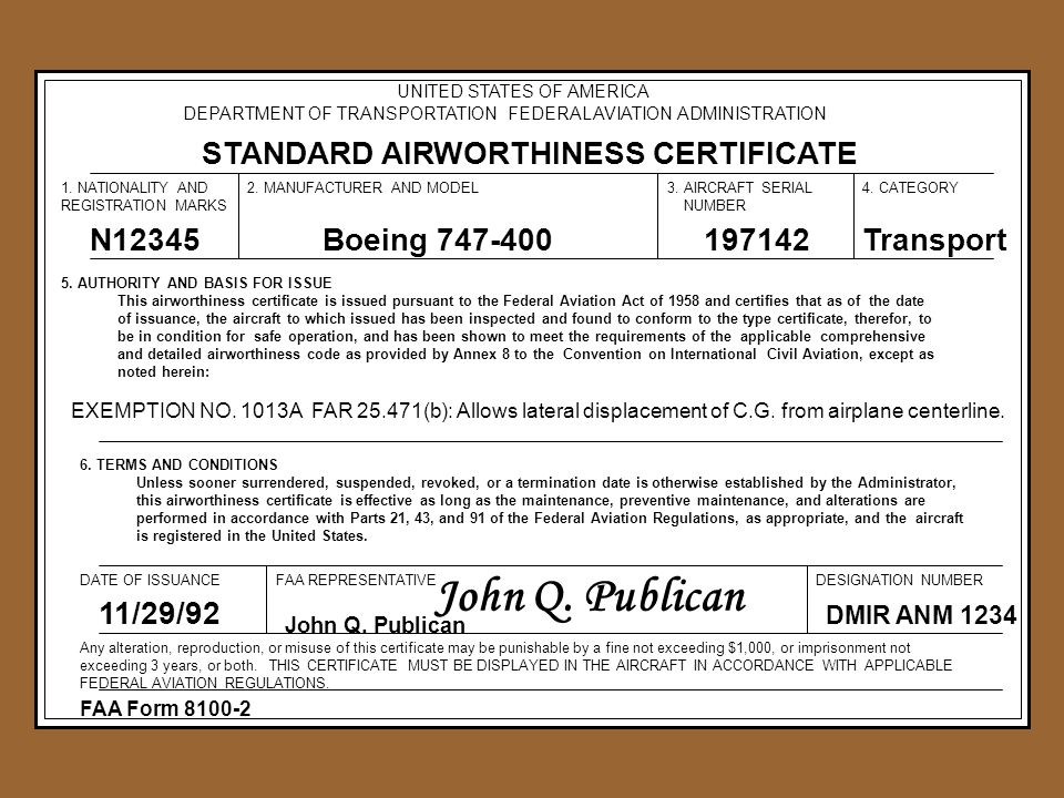 Aircraft airworthiness ppt video online download john q publican standard airworthiness certificate n12345 yelopaper Gallery