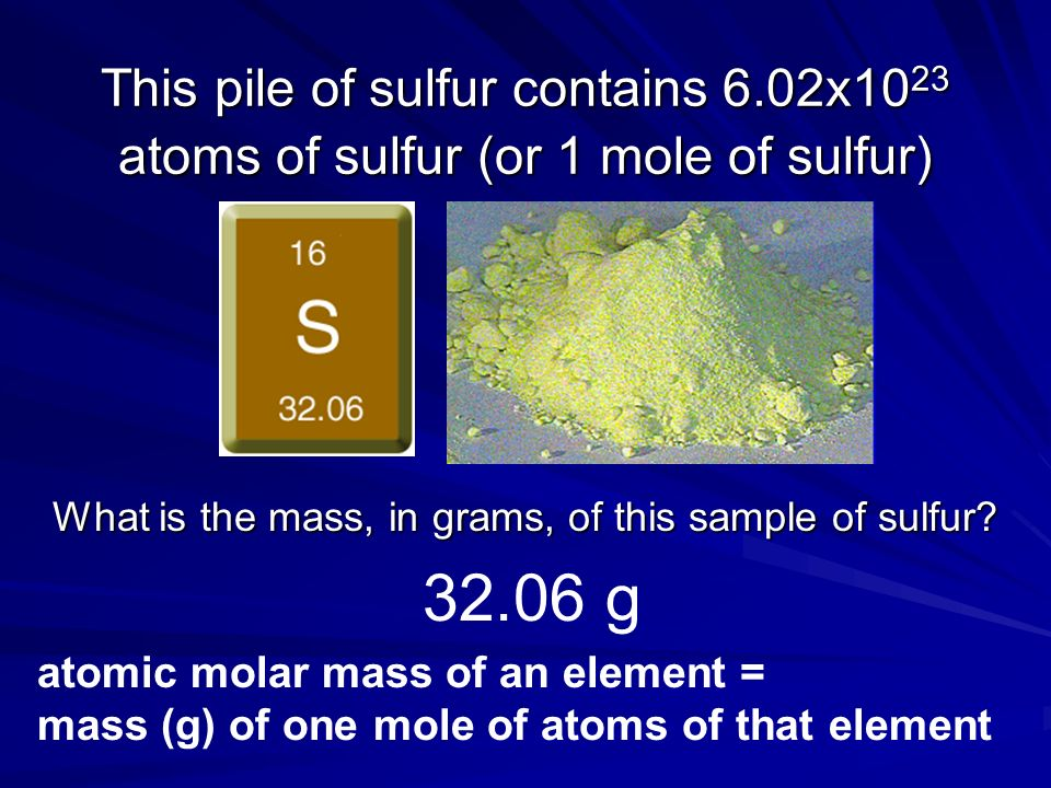 What is the mass, in grams, of this sample of sulfur