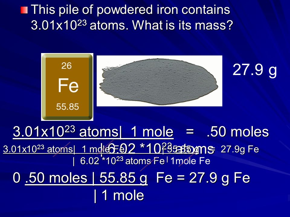 This pile of powdered iron contains 3.01x1023 atoms. What is its mass