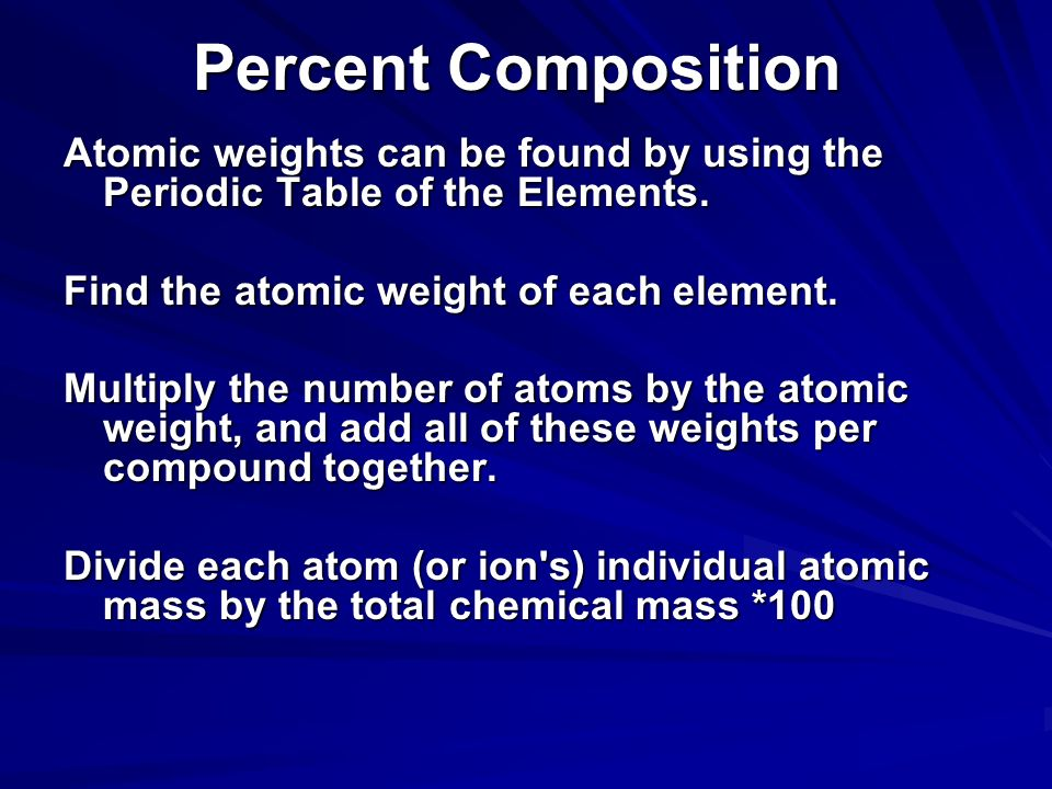 Percent Composition Atomic weights can be found by using the Periodic Table of the Elements. Find the atomic weight of each element.
