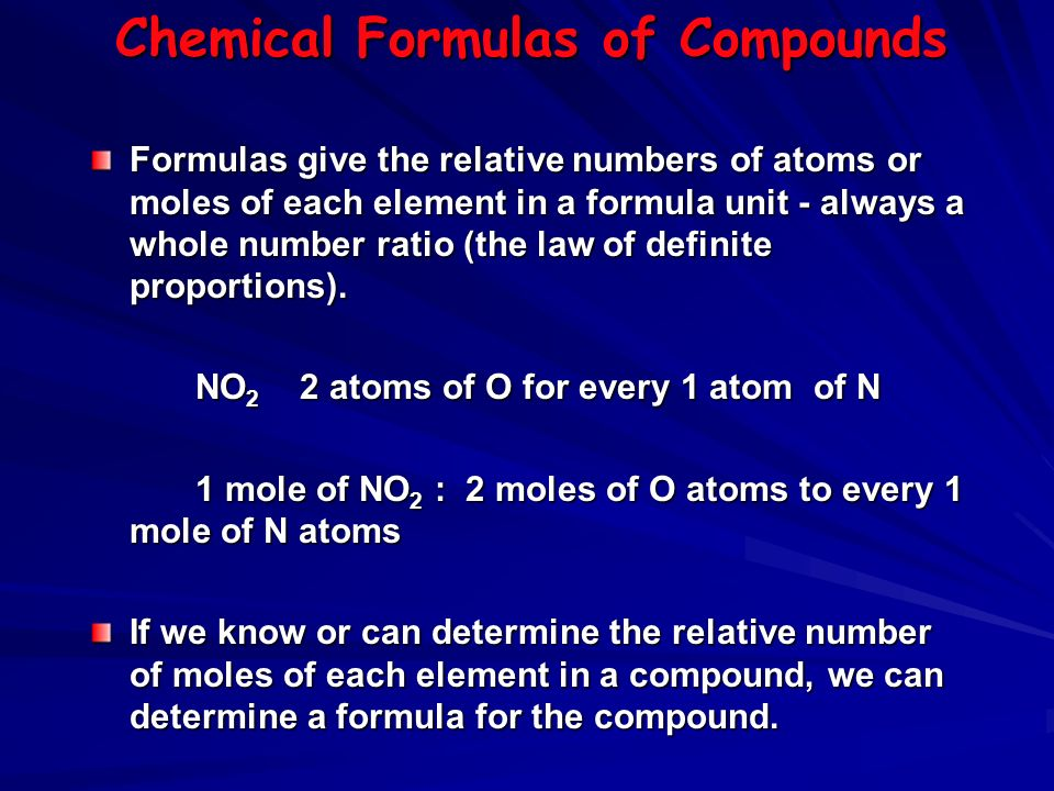 Chemical Formulas of Compounds