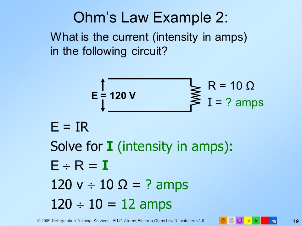 Ohm's Law Example 2: E = IR Solve for I (intensity in amps): E  R = I