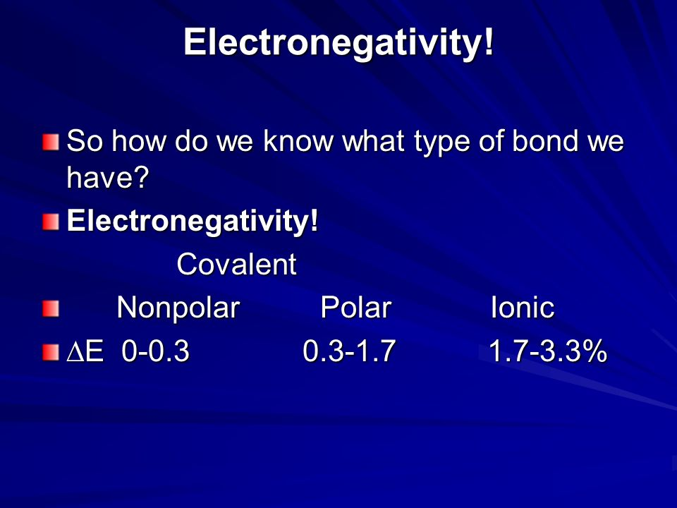 Electronegativity! So how do we know what type of bond we have
