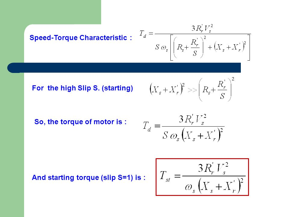 Speed-Torque Characteristic :