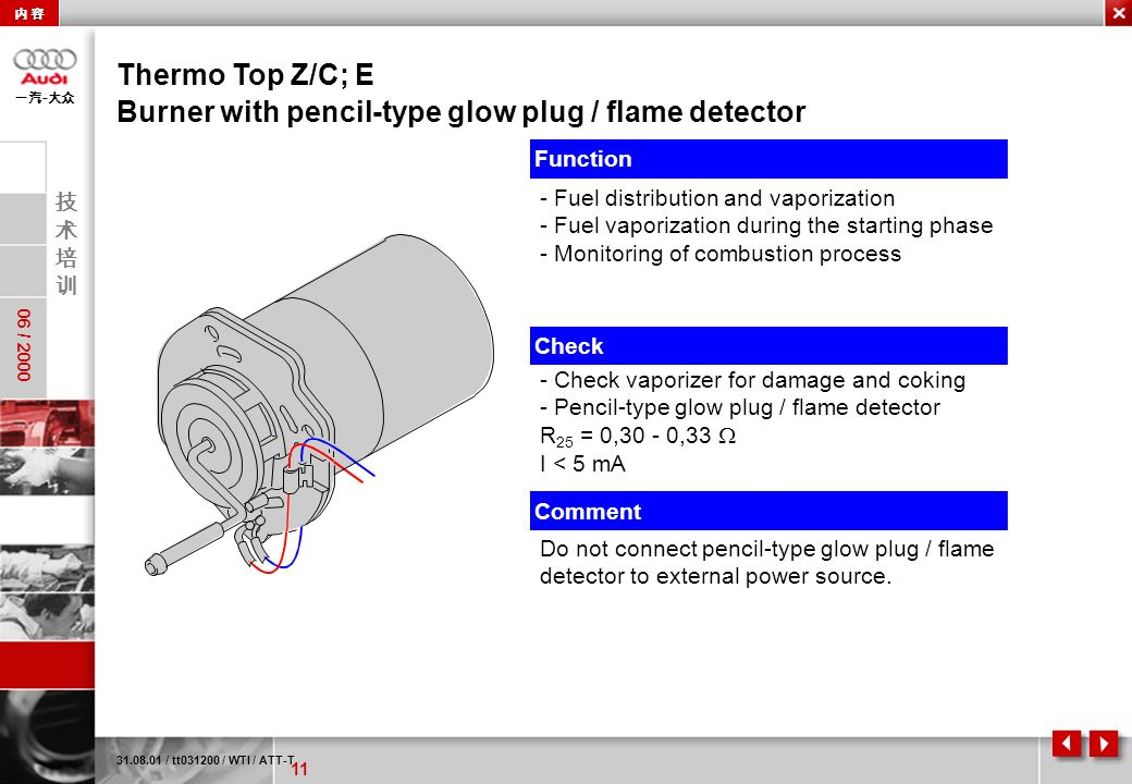 Burner with pencil-type glow plug / flame detector