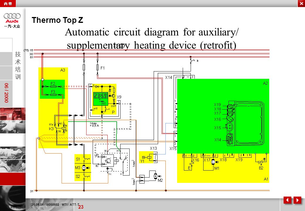 Thermo Top Z Automatic circuit diagram for auxiliary/ supplementary heating device (retrofit) 31.08.01 / tt050602 / WTI / ATT-T.