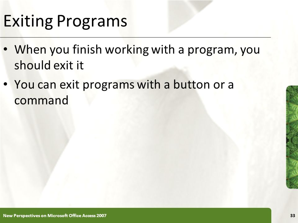 Exiting Programs When you finish working with a program, you should exit it. You can exit programs with a button or a command.