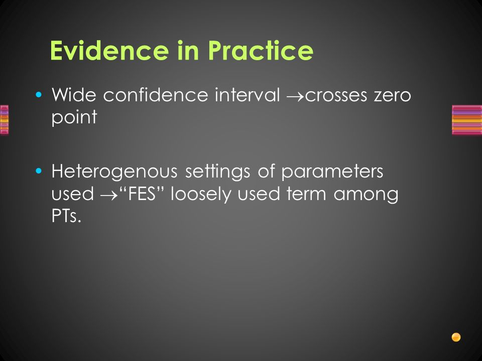 Evidence in Practice Wide confidence interval crosses zero point