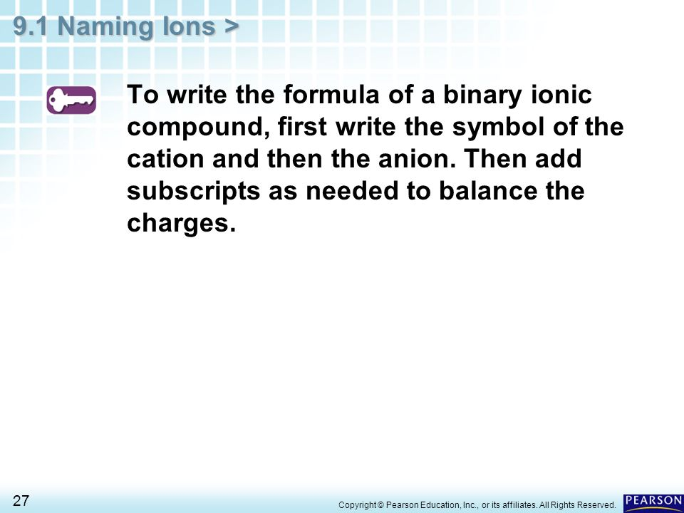 To write the formula of a binary ionic