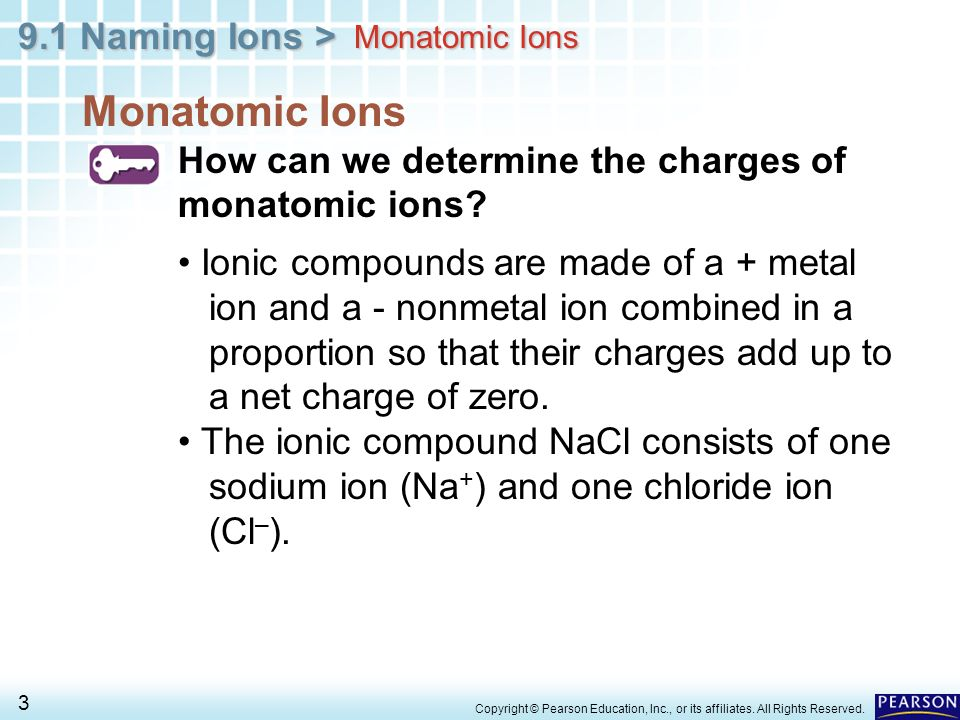Monatomic Ions How can we determine the charges of monatomic ions