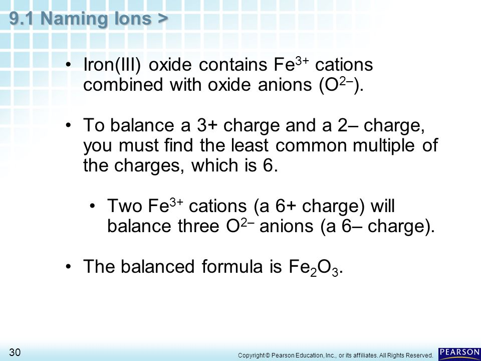 The balanced formula is Fe2O3.