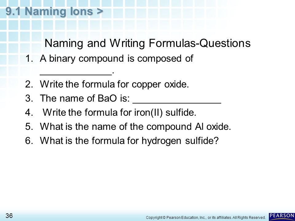 Naming and Writing Formulas-Questions