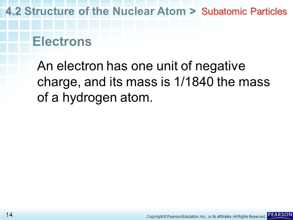 Subatomic Particles Electrons. An electron has one unit of negative charge, and its mass is 1/1840 the mass of a hydrogen atom.