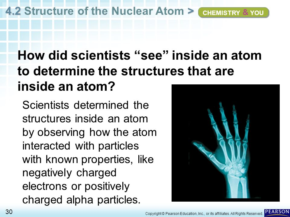CHEMISTRY & YOU How did scientists see inside an atom to determine the structures that are inside an atom