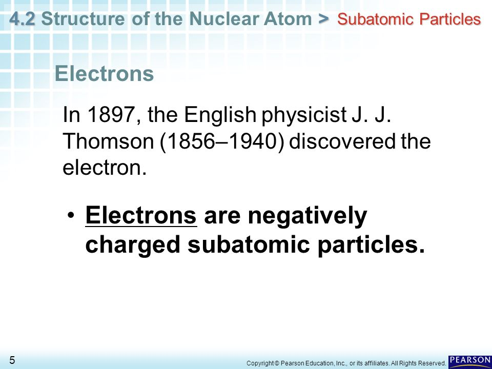 Electrons are negatively charged subatomic particles.