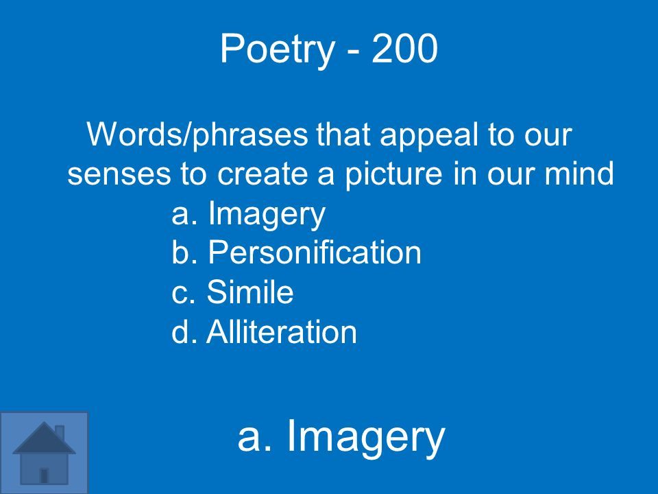 Poetry Words/phrases that appeal to our senses to create a picture in our mind. a. Imagery. b. Personification.