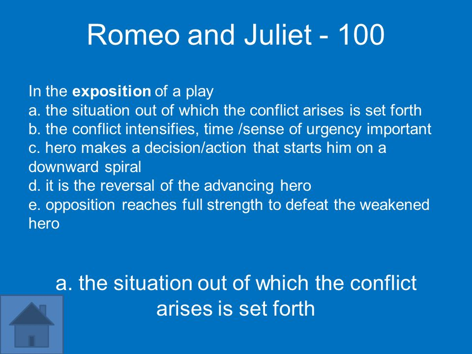 Romeo and Juliet In the exposition of a play