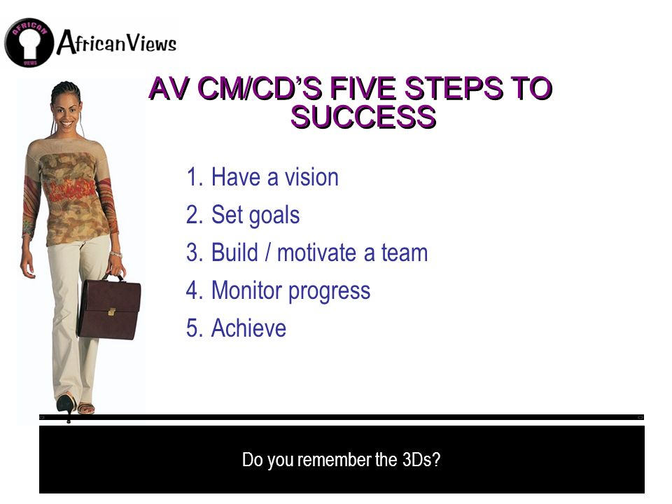 AV CM/CD'S FIVE STEPS TO SUCCESS