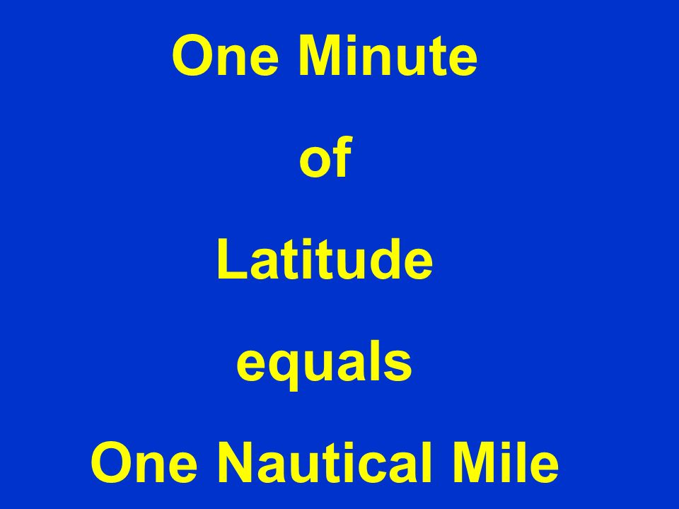 One Minute of Latitude equals One Nautical Mile