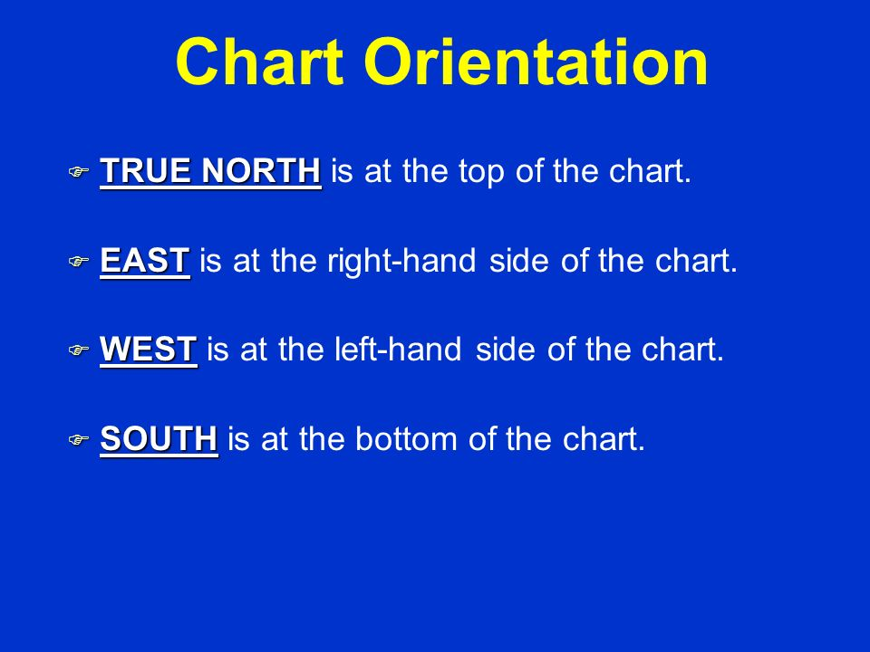 Chart Orientation TRUE NORTH is at the top of the chart.