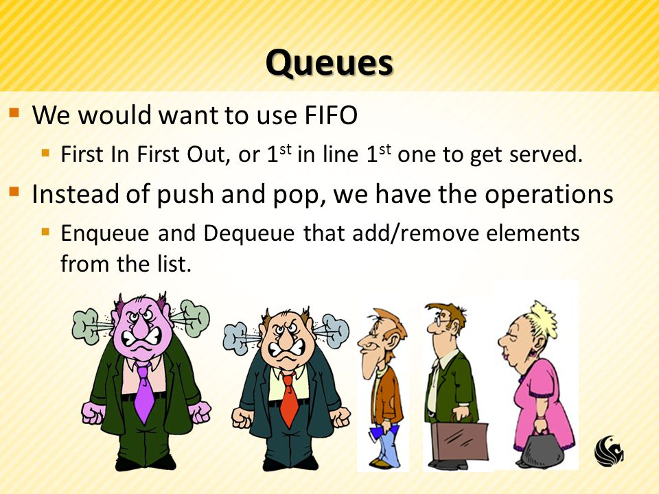 Queues We would want to use FIFO