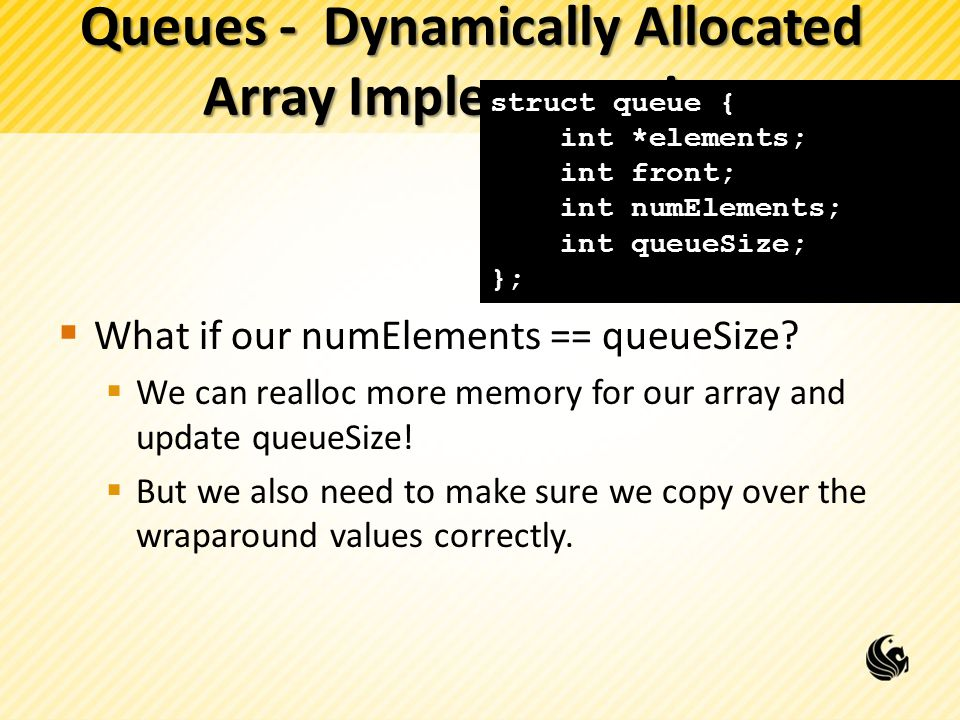 Queues - Dynamically Allocated Array Implementation