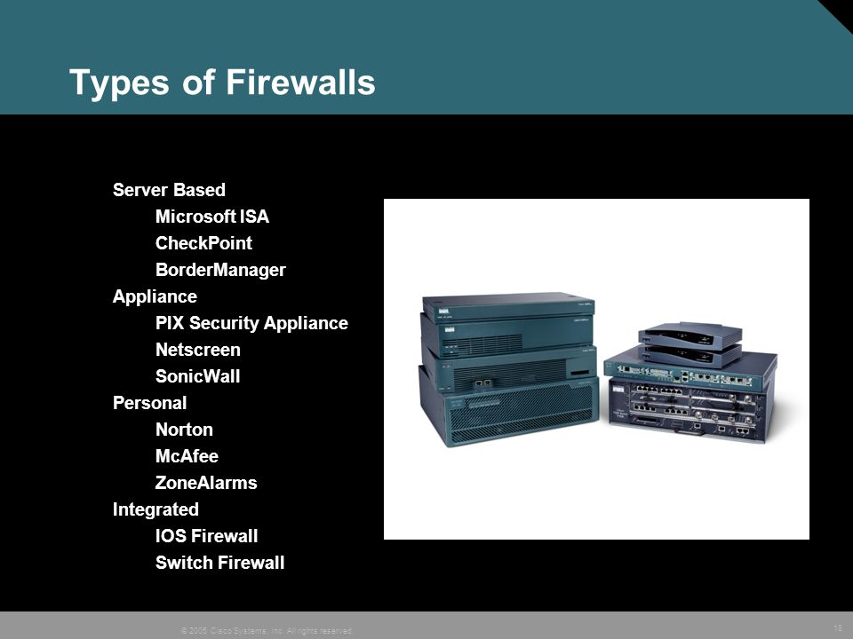 Types of Firewalls Server Based Microsoft ISA CheckPoint BorderManager