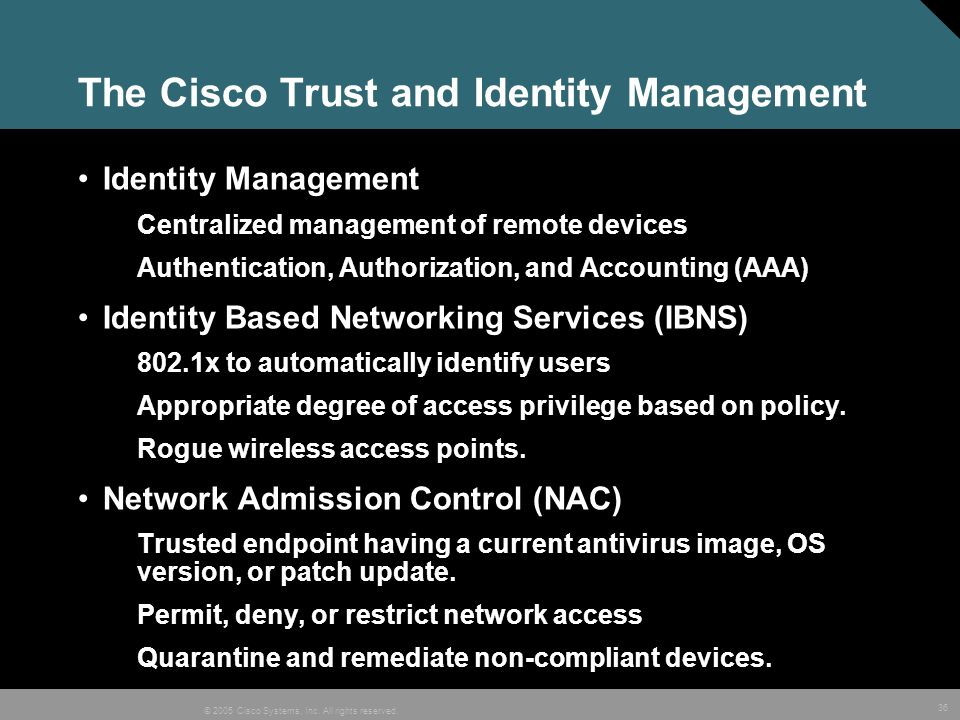 The Cisco Trust and Identity Management