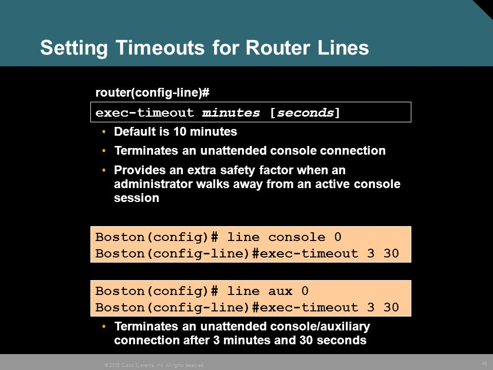 Setting Timeouts for Router Lines