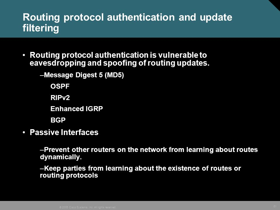 Routing protocol authentication and update filtering