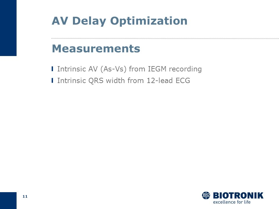 AV Delay Optimization Measurements