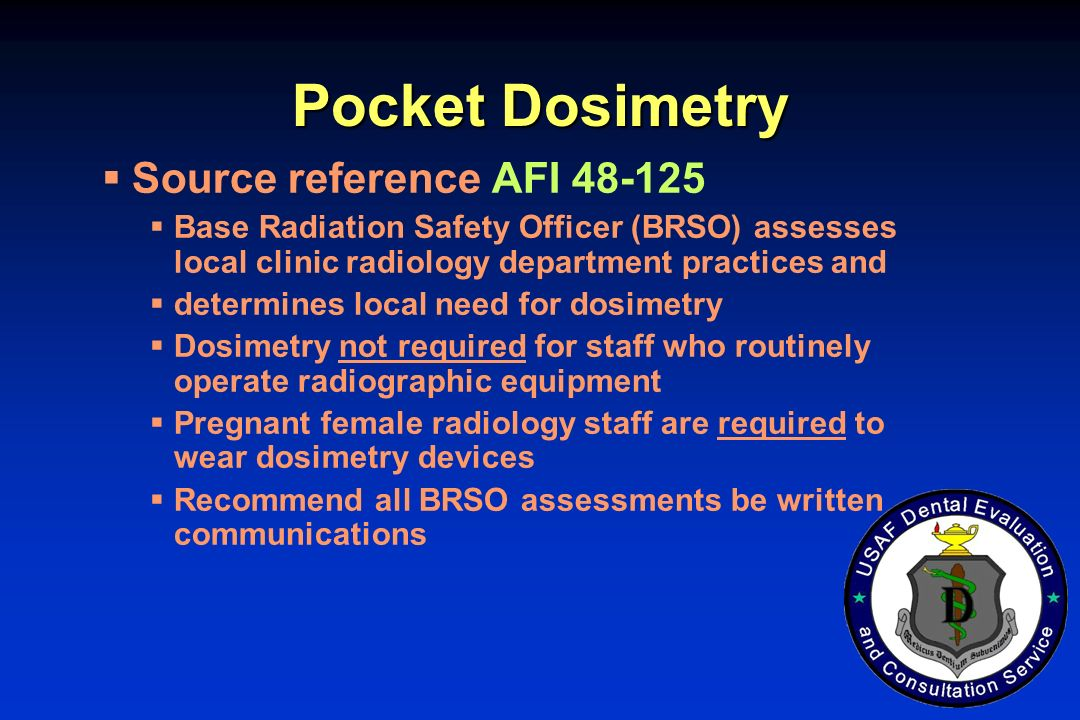 Pocket Dosimetry Source reference AFI